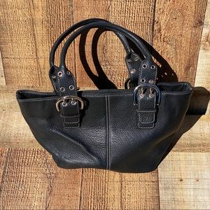 Tignanello Black Pebbled Leather Bag